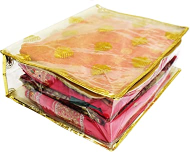 Fiocco Designer Golden 5 Sarees Holding Cover with Zip for Storage of Dresses, Wedding Clothes and Organizer in Wardrobe