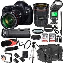 Canon EOS 5D Mark IV with 24-70mm f/2.8 L II USM Lens + 128GB Memory + Canon Deluxe Camera Bag + Pro Battery Bundle + Power Grip + Microphone + TTL Speed Light + Pro Filters,(23pc Bundle)