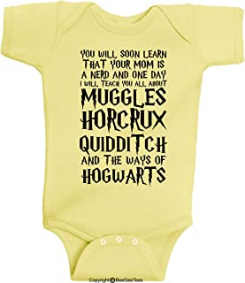 84e1dee2e BeeGeeTees You Will Soon Learn That Your Mom is A Nerd Funny Wizard Baby  Clothes One
