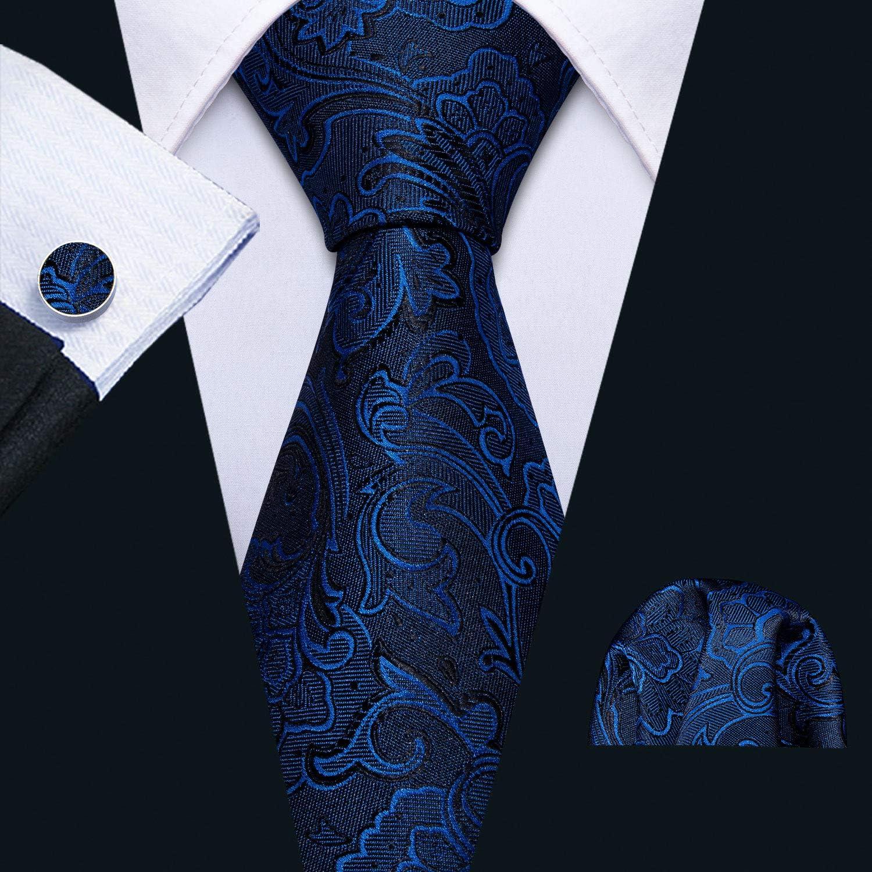 Barry.Wang Lazos de flores para hombres Corbata de seda conjunto con pañuelo gemelos boda negocio