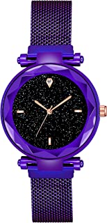 Acnos Black Dial with Megnetic Purple Belt Analogue Watch for Girl's and Women Pack of - 1 (Purple-Megnet)