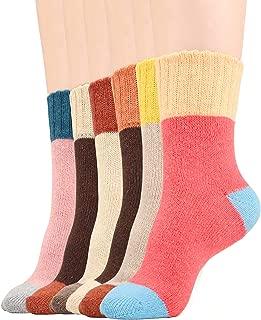 Women Winter Warm Socks Vintage Style Wool Blend Knit Crew Socks 5/6 Pairs