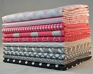 Designer Pink/Gray Fat Quarter Bundle, 10 pieces, 2 1/2 yards total, cotton fabric