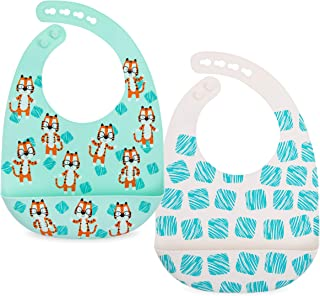 Nuby 2 Pack Adjustable Easy Clean Soft Silicone Bibs with Scoop, Tigers & Squares