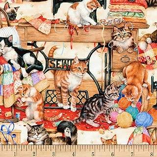 Robert Kaufman Sewing Buddies Cats Multi, Fabric by the Yard