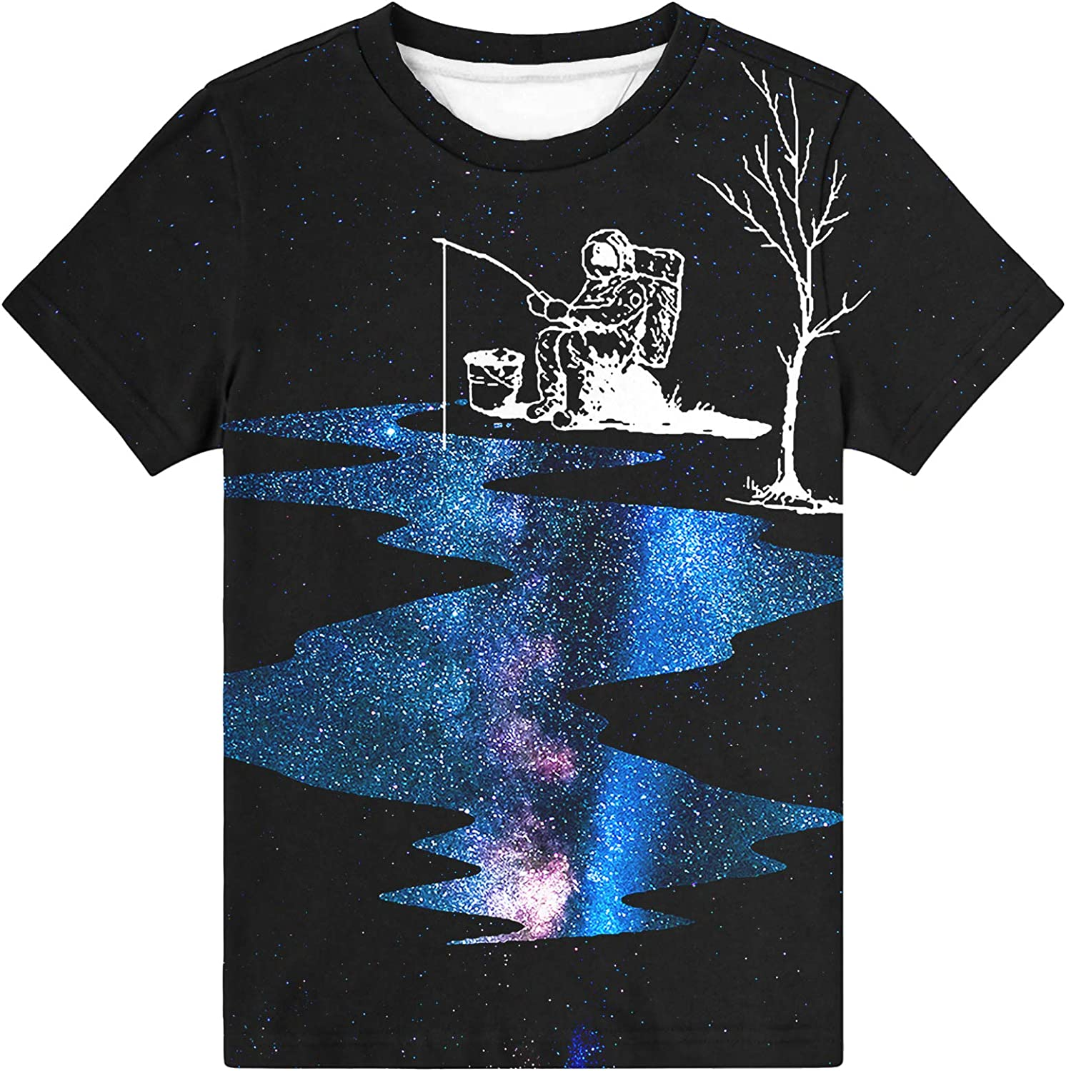 Hgvoetty Boys Girls 3D Shirts Casual Crewneck T-Shirts Unisex Short Sleeve Graphic Tops Tees 6-16 Years