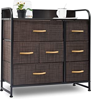 charaHOME Drawer Dresser(Brown) Dresser Organizer with 7 Drawers, Fabric Dresser Storage Tower for Bedroom, Hallway, Entryway, Closets, Sturdy Steel Frame, Wood Top & Handles