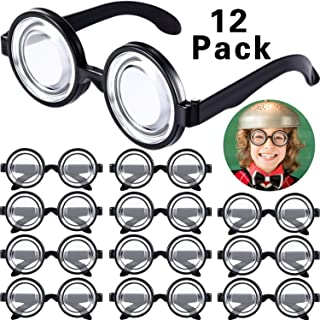 Round Nerd Glasses Magic Plastic Black Frame Nerd Glasses for Costume Party Favors (12 Pairs)