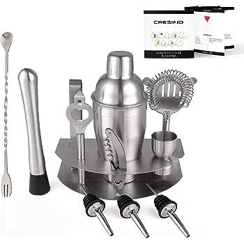 Cresimo - Juego de herramientas para cóctel (12 piezas, acero inoxidable, garantía y garantía) Incluye Martini Shaker, Colador, Jigger y más.