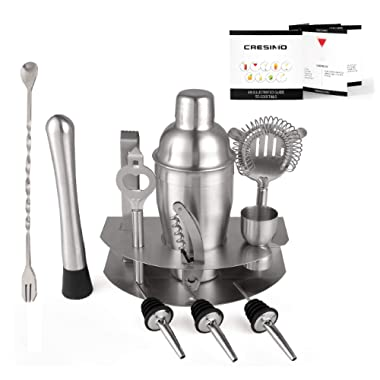Home Cocktail Bar Set by Cresimo - Brushed Stainless Steel 12 Piece Professional Bar Tool Kit - 100% GUARANTEE AND WARRANTY. Includes Martini Shaker, Muddler, Strainer, Jigger and More!