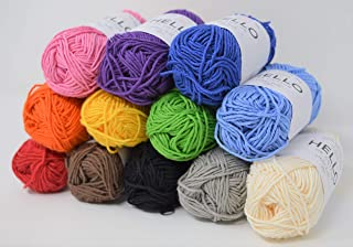 Hello Cotton Petite Yarn, Mix Colours, Pack of 12 ball-25g Each