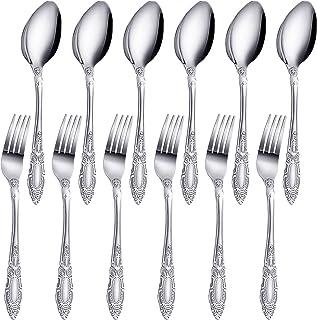 ست 12 قاشق چنگال و قاشق استیل ضد زنگ ، شامل 6 چنگال شام و 6 قاشق سوپ ، ظروف آشپزخانه Mirror Polish Dinner قابل استفاده مجدد برای رستوران هتل خانگی ، گاو صندوق ماشین