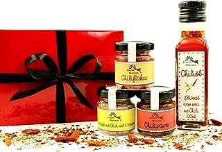 Chiliset mit Chiliöl und Gewürzspezialitäten in der Geschenkbox aus der Finca Marina Gewürzmanufaktur