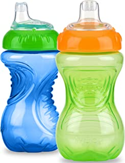Nuby 2 Pack No Spill Cup, 10 Ounce, Blue - Green