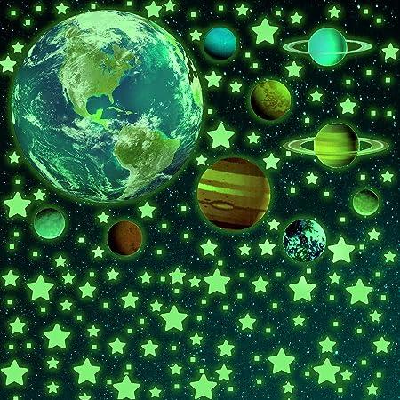 SnailGarden 470 Pièces Autocollants Lumineux,Système Solaire Lumineux et Étoiles et Carrés pour Chambres à Coucher de Bébé Enfant et Nurserie