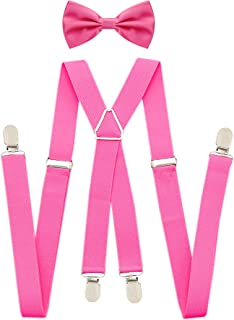 Jiaqee Suspenders Bowtie Set X-back Suspender For Men with Bow Tie Elastic 1