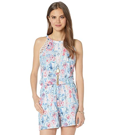 Lilly Pulitzer Lala Romper (Crew Blue Tint Sea To Shining Sea) Women