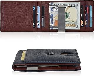 Slim Wallets Money Clip wallets - Leather Wallet Front Pocket Minimalist Modern Card Holder Bifold Mens Wallet