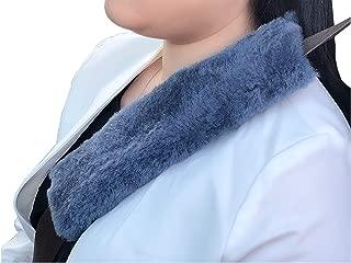 Genuine Sheepskin Car Seatbelt Cover Seatbelt Pillow Seatbelt Cover for Kids Seat Belt Pillow Sheepskin Seat Belt Covers Seat Belt Shoulder Pad Seat Belt Pads Strap Covers for Car Seats (Bluish Grey)