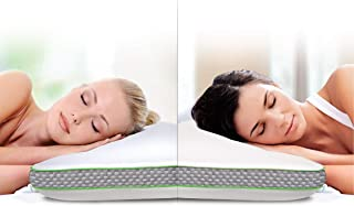 SHARPER IMAGE Select A Side Molded Memory Foam Pillow, Contoured Design for Support, Dual Soft/Firm Construction, Temperature Sensitive W/Infused Cooling Foam, Ergonomic, Washable Cover