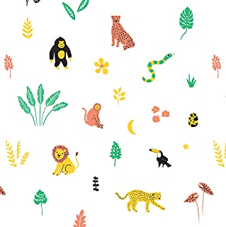 Jungle Safari Animal Crib Sheet Fitted Organic, 100% Cotton GOTS Soft Jersey Crib Sheets, Jungle Safari Animals Baby and T...