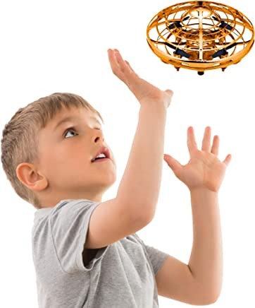 $34 Get Hand Operated Drones for Kids or Adults - Scoot Hands Free Mini Drone Helicopter, Easy Indoor Small Orb Flying Ball Drone Toys for Boys or Girls (Gold)