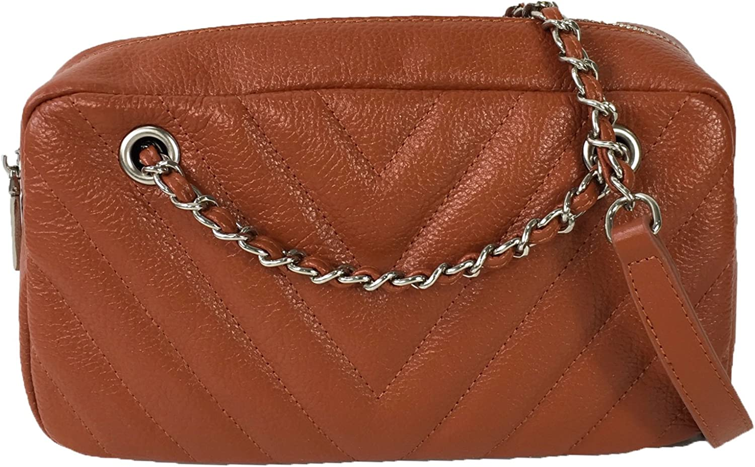 Zenith Chevron Quilted Leather Chain Crossbody, Cognac