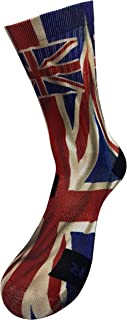 STYLE FOREVER, Bandera Inglesa Calcetines con Diseño Motivo Hecho a Mano Calcetines de impresión 3D para Baloncesto Voleibol Tenis Fitness Golf Ciclismo Balonmano Respirable Coolmax Calcetines deportivos