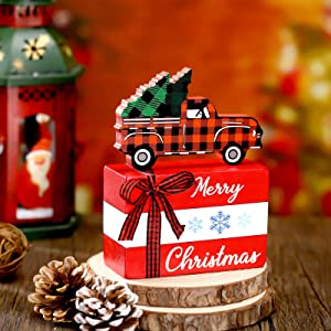 Set of Merry Christmas Sign Wood Tiered Tray Decor Rustic Christmas Truck Car Table Decor with Red Black Buffalo Plaid Christmas Tree and Vintage Truck for Xmas Party Home Crafts Decorations DIY