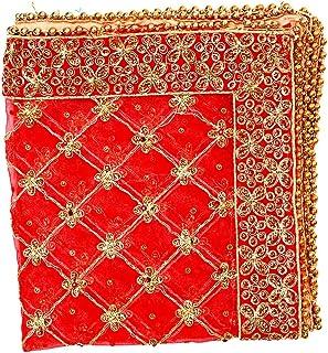 Orange Decorative Cloth Pooja Chunari (Size :- 18 Inches x 36 Inches) Chunni Puja Festival Decoration Chunr MATA Ki Chunri...