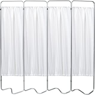 Omnimed 153054-WH 4 Panel S-Base Privacy Screen w White Vinyl Panels