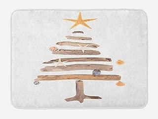 Lunarable Christmas Bath Mat, Driftwood Tree with Ornamental Nautical Design Starfish and Seashells Noel Theme, Plush Bathroom Decor Mat with Non Slip Backing, 29.5
