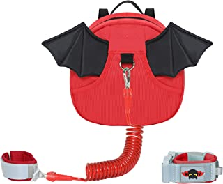 Baby Toddlers Cute Butterfly Owl Bat Backpacks with Wrist Leash for Kid Walking Safety 1.5 to 3 Years (bat red)