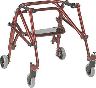 Inspired by Drive Nimbo 2G Lightweight Posterior Walker with Seat, Castle Red, Small