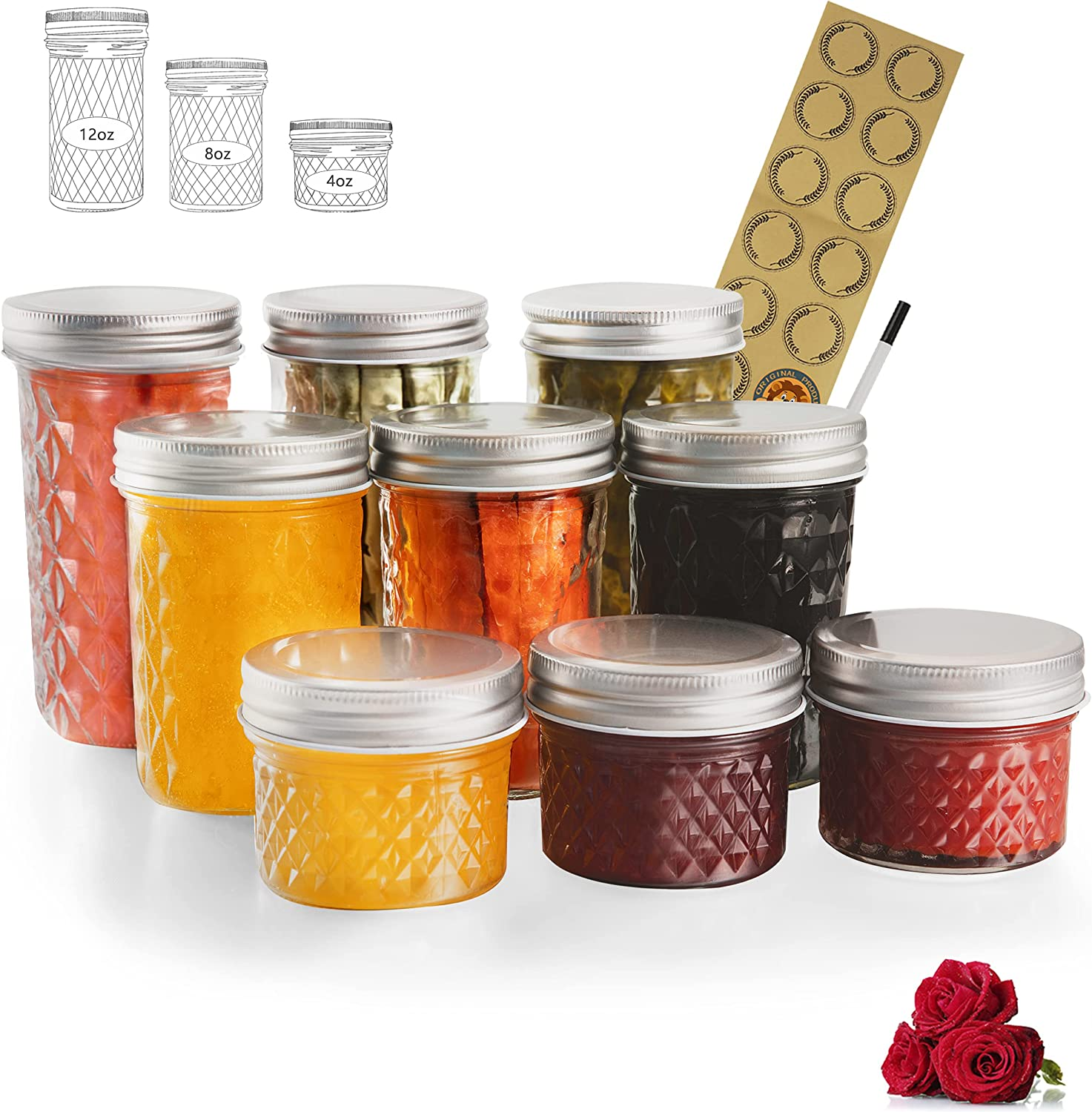 LovoIn Beauty products Mason Jars Canning Jelly Id Lids With store Regular