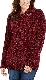 KAREN SCOTT Womens Burgundy Ribbed Long Sleeve Cowl Neck Sweater AU Size:6