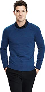 Italian Merino Raglan Crewneck Sweater Color Blue Size Large