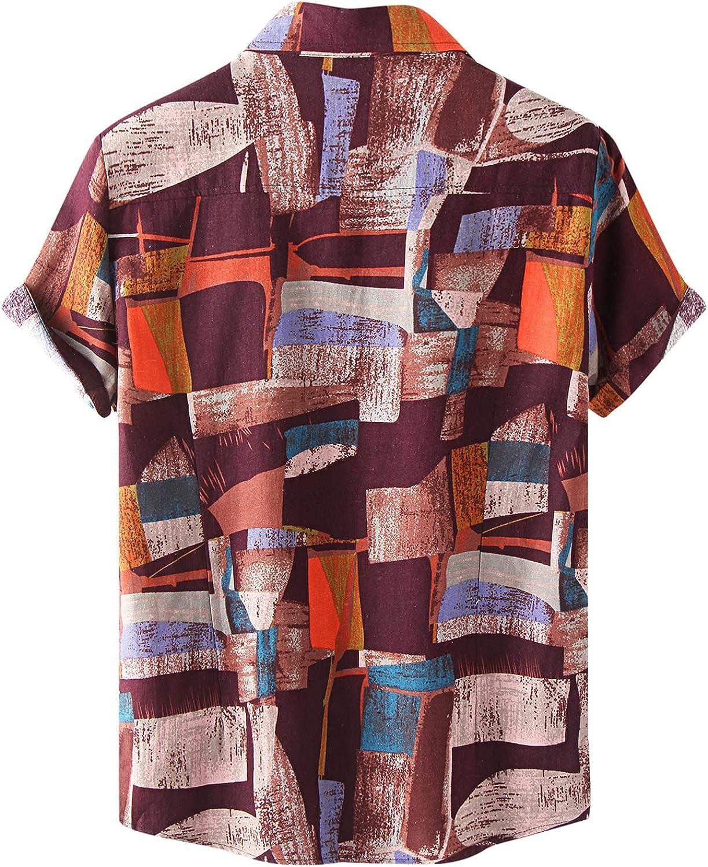 LEIYAN Mens Slim Fit Cotton Linen Button-Down Shirts Summer Casual Outdoor Hawaiian Aloha Beach Printed Henleys Tops