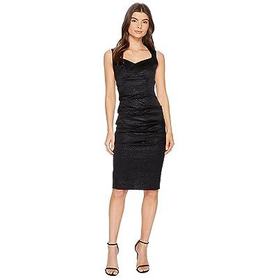 Nicole Miller Crinkle Sweetheart Dress (Black) Women