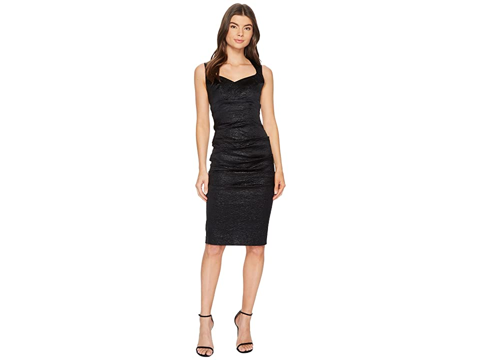 Nicole Miller Crinkle Sweetheart Dress (Black) Women