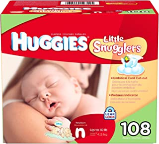 Huggies Little Snugglers Diapers, Newborn (Up to 10 lbs.), 108 ct