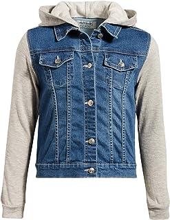 'WallFlower Girls Fashion Denim Jackets (Dark Wash/Unicorn Hood, 7/8)'