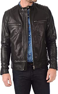 Ayesha Mens Leather Jackets Motorcycle Bomber Biker Genuine Lambskin 365