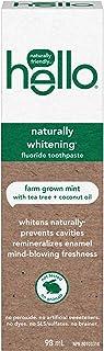 Hello Naturally Whitening Fluoride Toothpaste, Farm Grown Mint, Vegan, SLS Free, Gluten Free and Peroxide Free, 98 mL