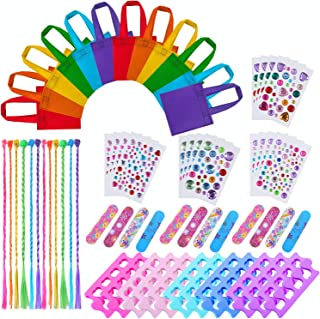 URATOT 72 Pieces Spa Party Supplies Multiple Spa Party Favors for Girls 12 Tote Bags, 24 Toe Separators,12 Emery Boards,12 Body Jewels and 12 Colored Hair Clip Braids