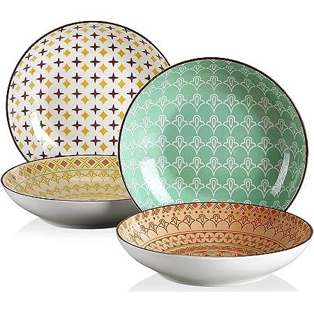 vancasso, série TULIP, Assiette Creuse Colorée, 4 Pièces, Style Marocain, Élément MANDALA(Assiette Creuse, Assiette Unique 4 Pièces)