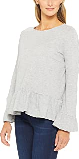 French Connection Women's Baby Doll Peasant Tee, Grey (