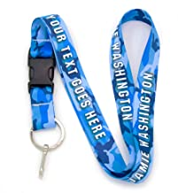 Buttonsmith Blue Camo Custom Lanyard - Customize with Your Text - Buckle and Flat Ring - Made in The USA