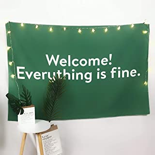Cxiuxiu Tapestry Wall Hanging, Wall Tapestry with Welcome! Everything is fine (White) Home Decorations for Living Room Bedroom Dorm Decor 6060