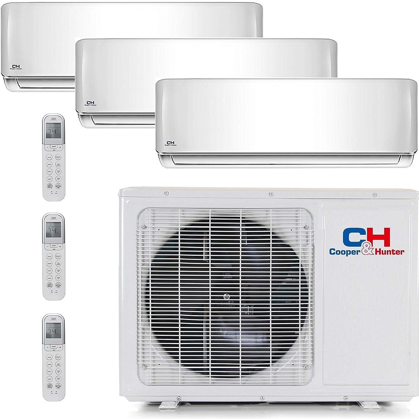 COOPER AND HUNTER Tri 3 Zone Mini Split Ductless Air Conditioner Heat Pump 9000 12000 12000 Multi